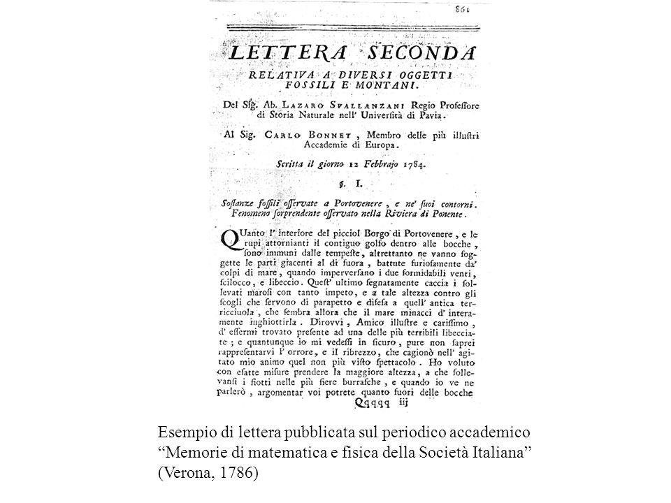 Esempio di lettera pubblicata sul periodico accademico Memorie di matematica e fisica della Società Italiana (Verona, 1786)