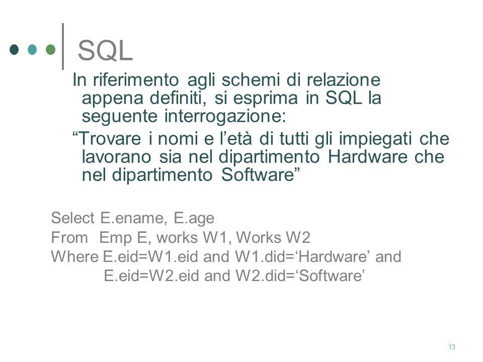 12 SQL In riferimento agli schemi di relazione appena definiti, si esprima in SQL la seguente interrogazione: Trovare i nomi e letà di tutti gli impie