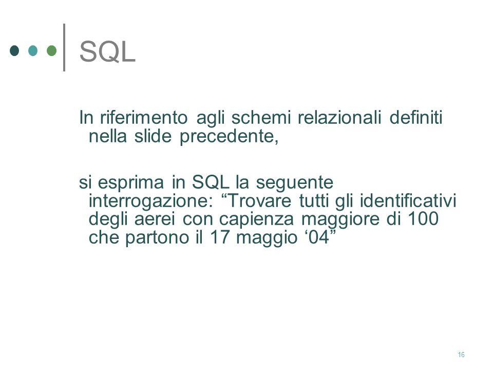 15 SQL soluzione select piloti.nome from piloti, partenze where partenze.pilota=piloti.id and partenze.data<=24/4/04