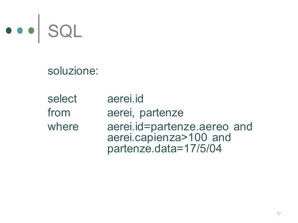 16 SQL In riferimento agli schemi relazionali definiti nella slide precedente, si esprima in SQL la seguente interrogazione: Trovare tutti gli identif
