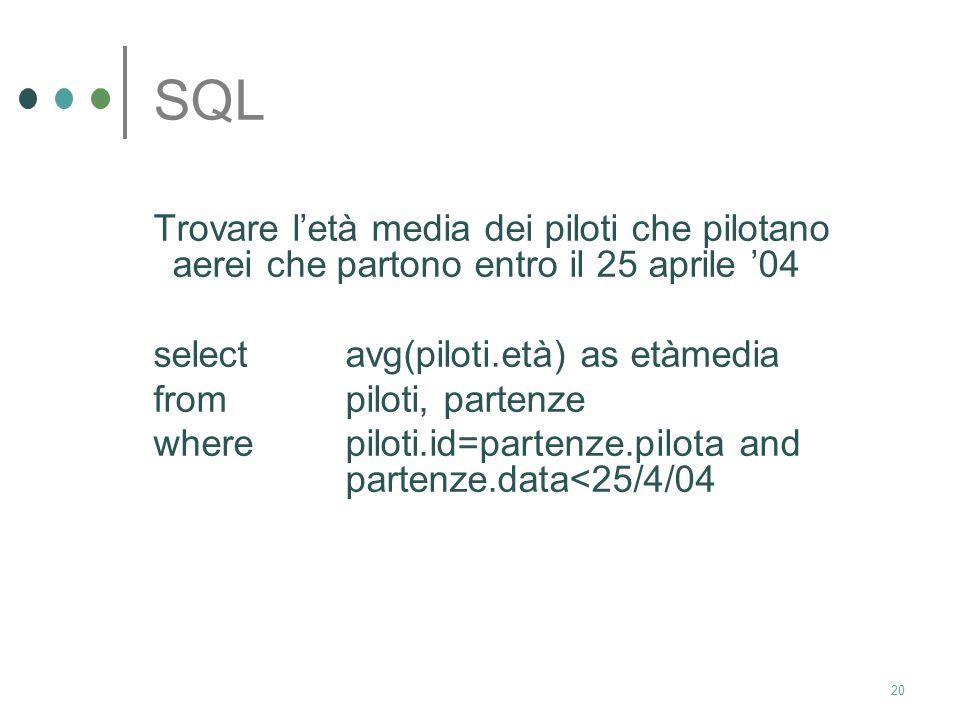 19 SQL soluzione: select piloti.nome frompiloti, aerei, partenze wherepiloti.id=partenze.pilota and aerei.id=partenze.aereo and partenze.data>17/5/04