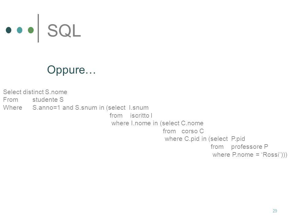 28 SQL Trovare i nomi di tutti gli studenti del primo anno iscritti ad un corso tenuto dal prof. Rossi Select distinct S.nome From studente S, corso C