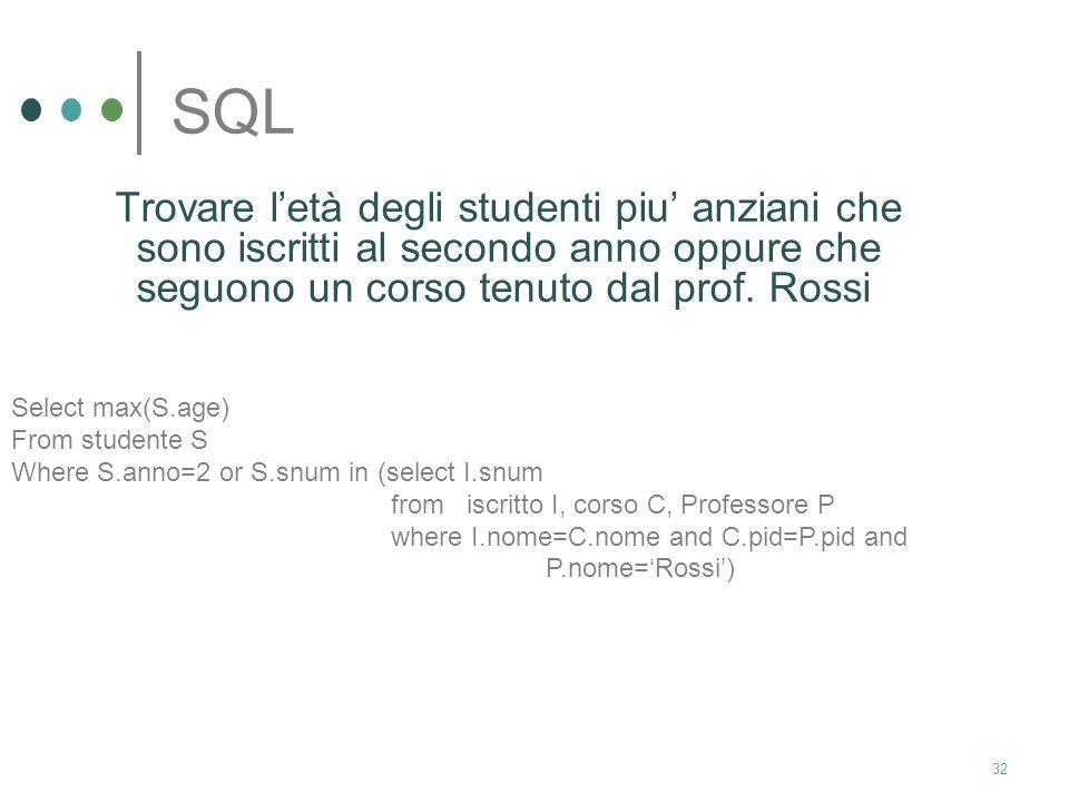 31 SQL Trovare gli studenti che non sono iscritti ad alcun corso Select S.nome From studente S Where S.snum not in (select I.snum from iscritto I)