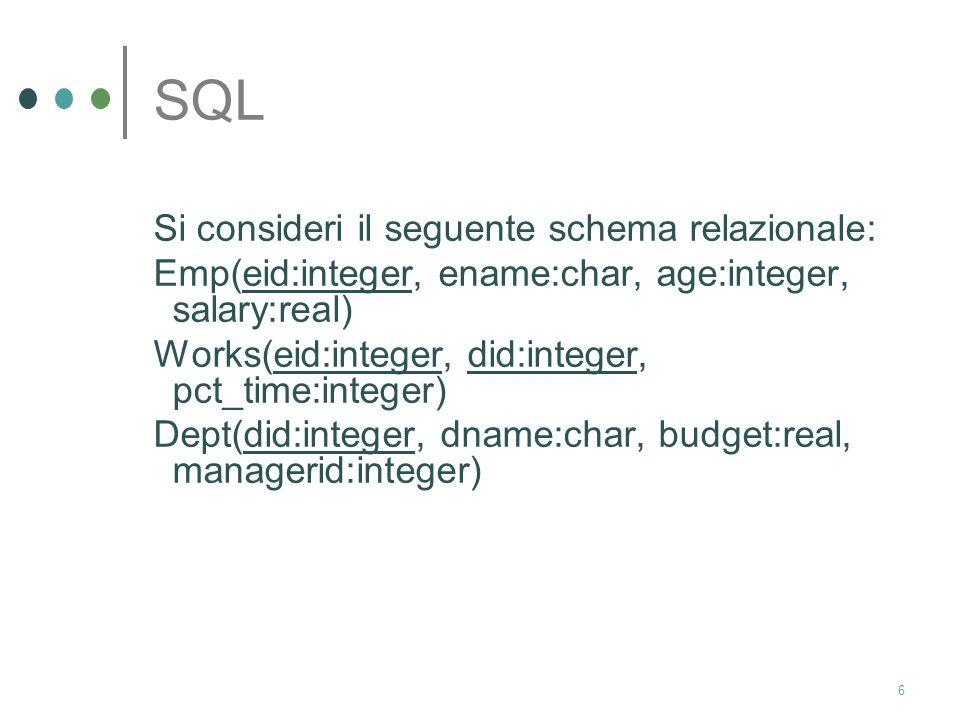 6 SQL Si consideri il seguente schema relazionale: Emp(eid:integer, ename:char, age:integer, salary:real) Works(eid:integer, did:integer, pct_time:integer) Dept(did:integer, dname:char, budget:real, managerid:integer)