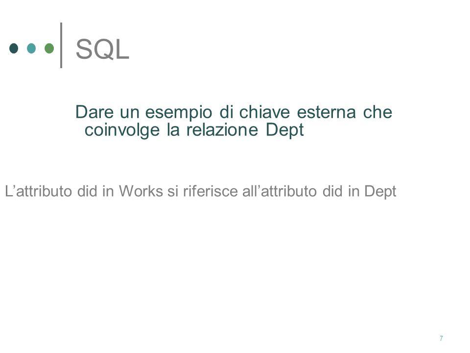 6 SQL Si consideri il seguente schema relazionale: Emp(eid:integer, ename:char, age:integer, salary:real) Works(eid:integer, did:integer, pct_time:int