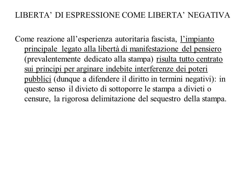 LIBERTA DI ESPRESSIONE COME LIBERTA NEGATIVA Come reazione allesperienza autoritaria fascista, limpianto principale legato alla libertà di manifestazi
