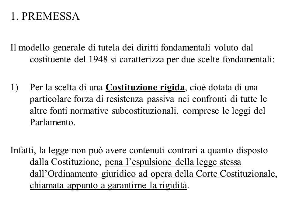 1. PREMESSA Il modello generale di tutela dei diritti fondamentali voluto dal costituente del 1948 si caratterizza per due scelte fondamentali: 1)Per