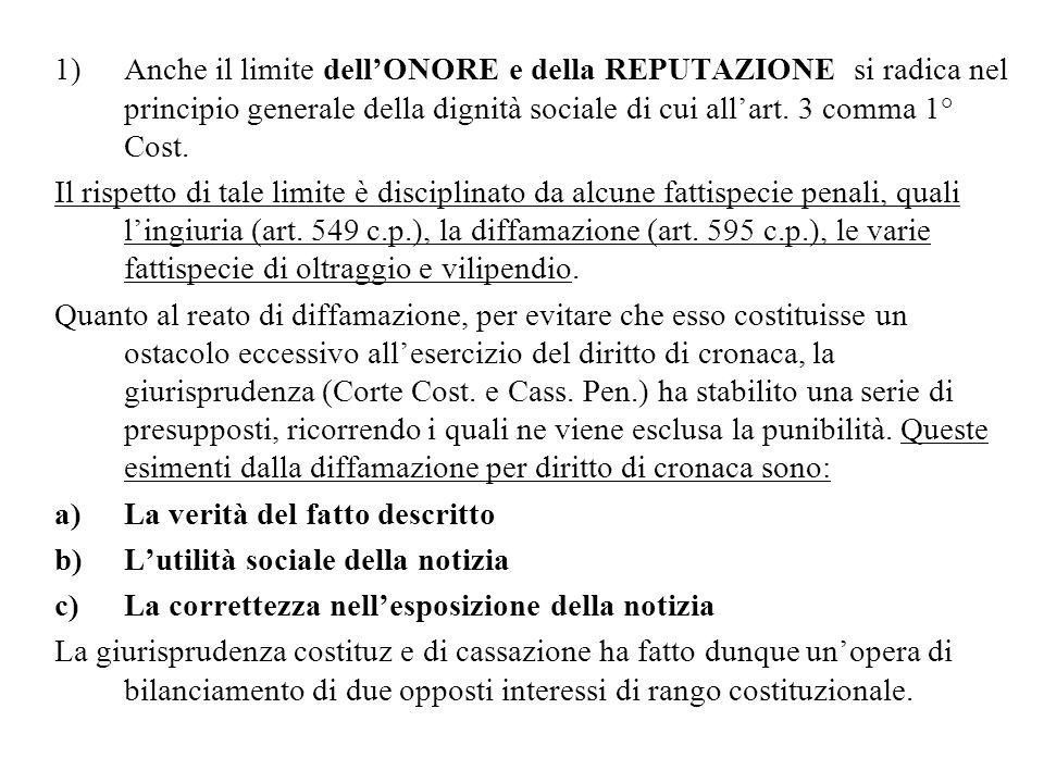 1)Anche il limite dellONORE e della REPUTAZIONE si radica nel principio generale della dignità sociale di cui allart. 3 comma 1° Cost. Il rispetto di