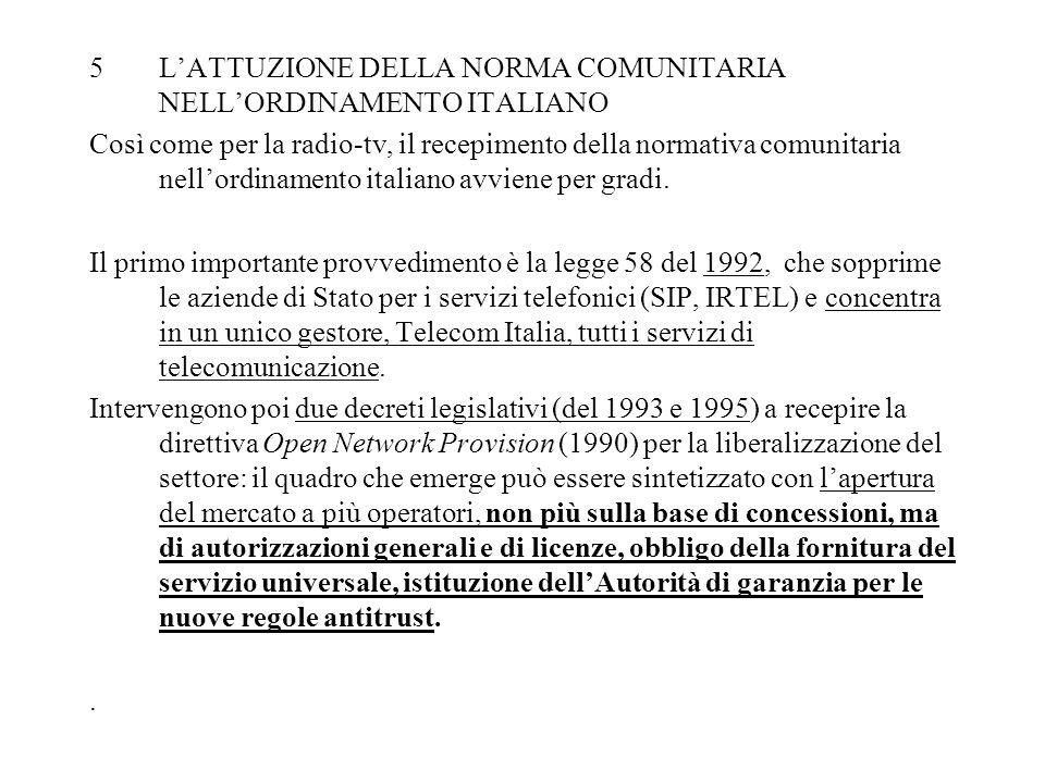 5LATTUZIONE DELLA NORMA COMUNITARIA NELLORDINAMENTO ITALIANO Così come per la radio-tv, il recepimento della normativa comunitaria nellordinamento italiano avviene per gradi.