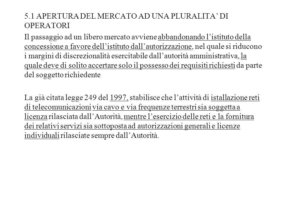 5.1 APERTURA DEL MERCATO AD UNA PLURALITA DI OPERATORI Il passaggio ad un libero mercato avviene abbandonando listituto della concessione a favore del