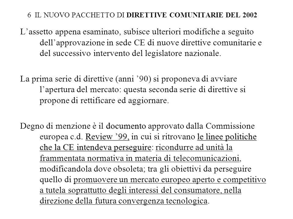 6 IL NUOVO PACCHETTO DI DIRETTIVE COMUNITARIE DEL 2002 Lassetto appena esaminato, subisce ulteriori modifiche a seguito dellapprovazione in sede CE di nuove direttive comunitarie e del successivo intervento del legislatore nazionale.