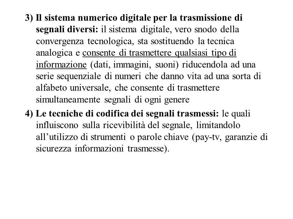 3) Il sistema numerico digitale per la trasmissione di segnali diversi: il sistema digitale, vero snodo della convergenza tecnologica, sta sostituendo la tecnica analogica e consente di trasmettere qualsiasi tipo di informazione (dati, immagini, suoni) riducendola ad una serie sequenziale di numeri che danno vita ad una sorta di alfabeto universale, che consente di trasmettere simultaneamente segnali di ogni genere 4) Le tecniche di codifica dei segnali trasmessi: le quali influiscono sulla ricevibilità del segnale, limitandolo allutilizzo di strumenti o parole chiave (pay-tv, garanzie di sicurezza informazioni trasmesse).