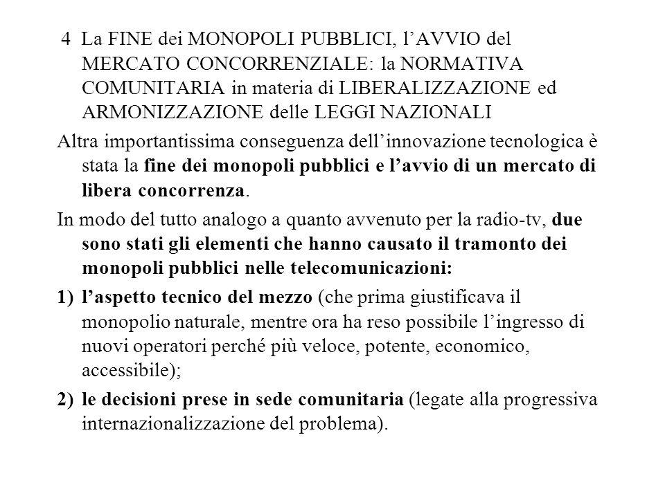 4 La FINE dei MONOPOLI PUBBLICI, lAVVIO del MERCATO CONCORRENZIALE: la NORMATIVA COMUNITARIA in materia di LIBERALIZZAZIONE ed ARMONIZZAZIONE delle LE