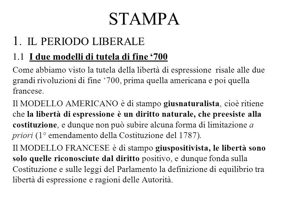 1.2 Lo Statuto Albertino e la sua attuazione L o Statuto Albertino riprende il modello francese: >, e dunque sancisce il divieto di ogni intervento preventivo e riserva al legislatore di definire i limiti allesercizio della libertà.