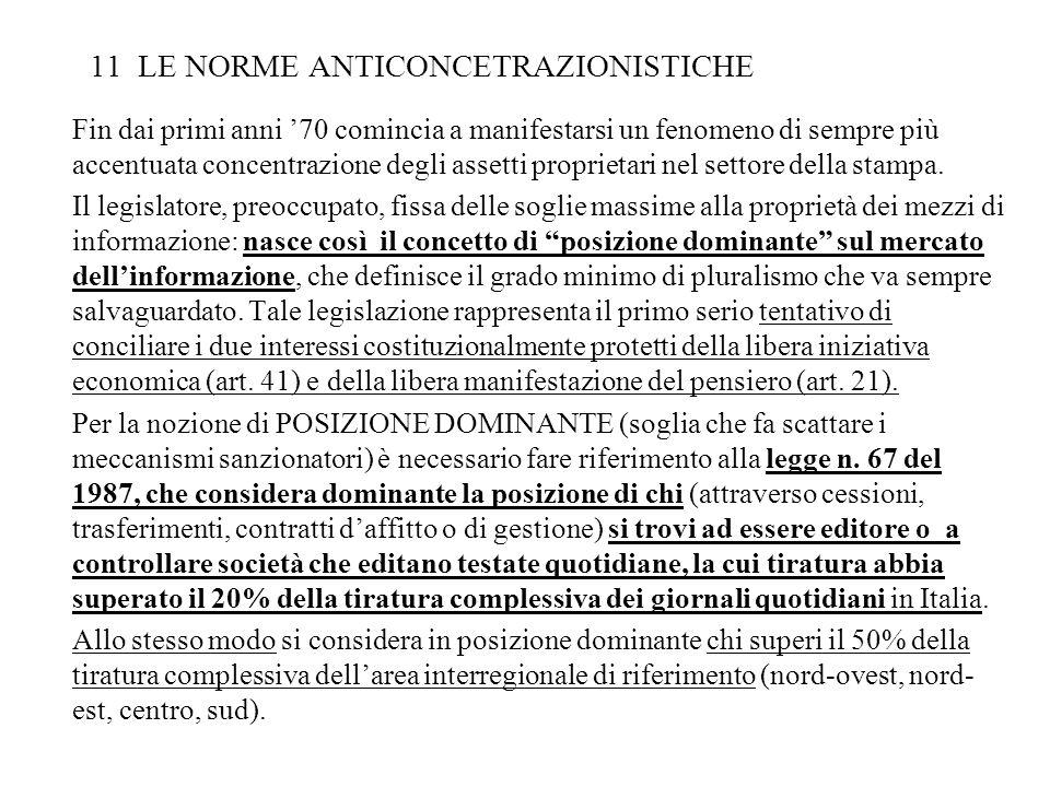 11 LE NORME ANTICONCETRAZIONISTICHE Fin dai primi anni 70 comincia a manifestarsi un fenomeno di sempre più accentuata concentrazione degli assetti pr