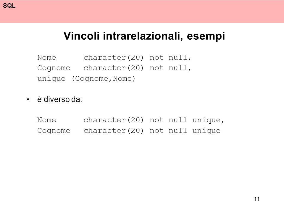 SQL 11 Vincoli intrarelazionali, esempi Nome character(20) not null, Cognome character(20) not null, unique (Cognome,Nome) è diverso da: Nome characte