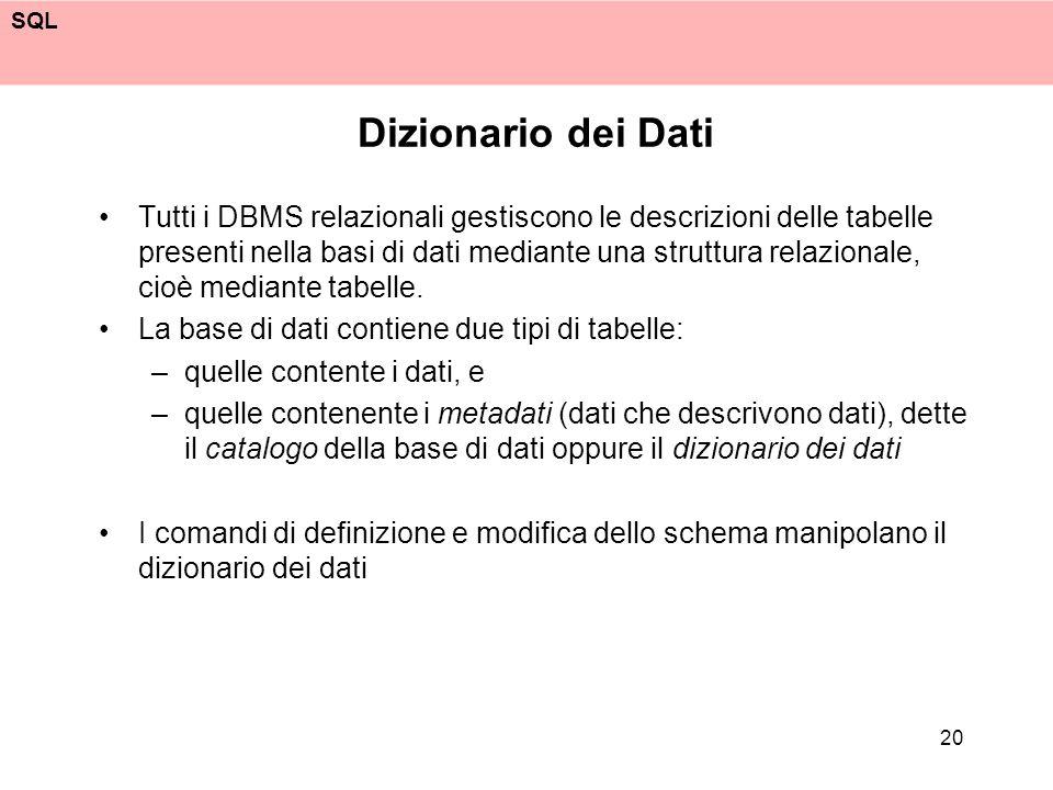 SQL 20 Dizionario dei Dati Tutti i DBMS relazionali gestiscono le descrizioni delle tabelle presenti nella basi di dati mediante una struttura relazio