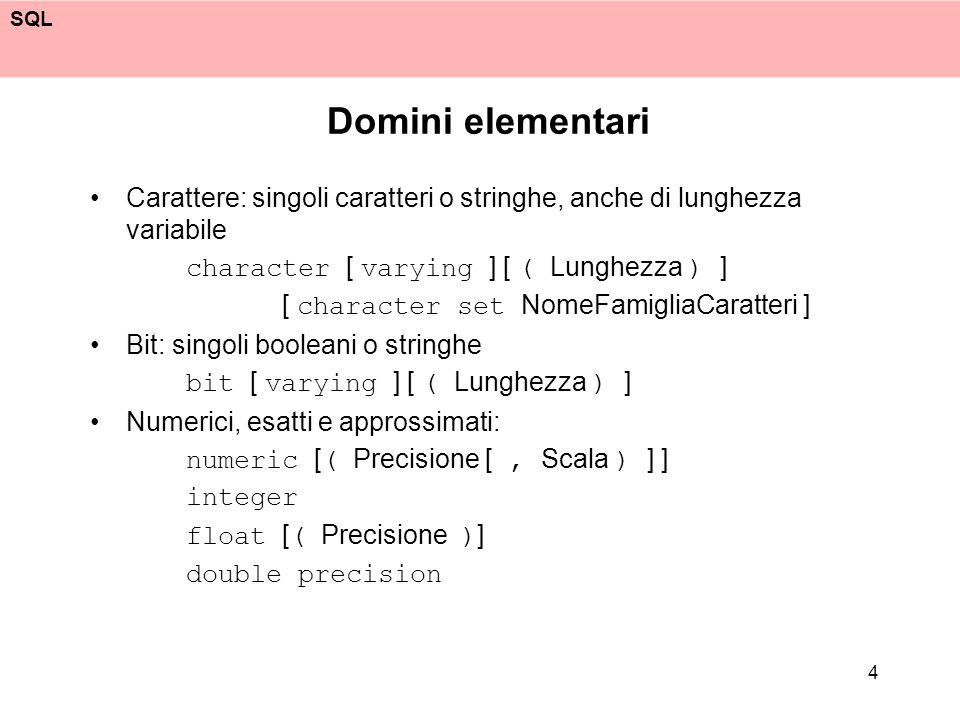 SQL 5 Domini elementari, 2 Data, ora, intervalli: date time [ ( Precisione ) ] [ with time zone ] timestamp [ ( Precisione ) ] [ with time zone ] interval UnitàDiTempo [ to UnitàDiTempo ]