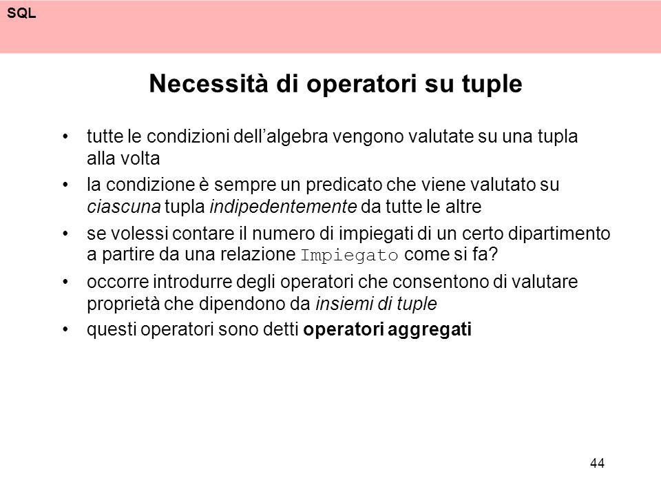 SQL 44 Necessità di operatori su tuple tutte le condizioni dellalgebra vengono valutate su una tupla alla volta la condizione è sempre un predicato ch