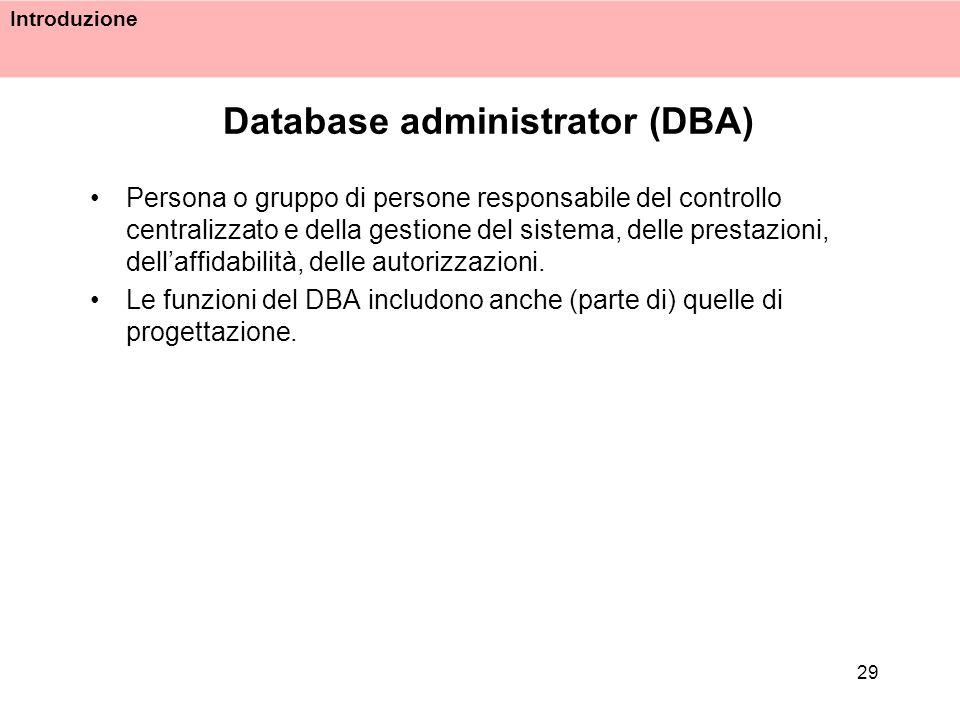 Introduzione 29 Database administrator (DBA) Persona o gruppo di persone responsabile del controllo centralizzato e della gestione del sistema, delle