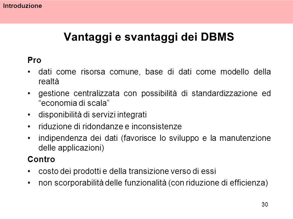 Introduzione 30 Vantaggi e svantaggi dei DBMS Pro dati come risorsa comune, base di dati come modello della realtà gestione centralizzata con possibil