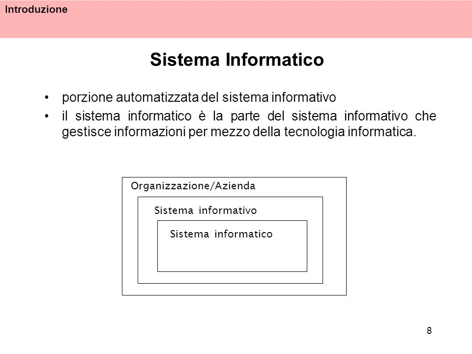 Introduzione 8 Sistema Informatico porzione automatizzata del sistema informativo il sistema informatico è la parte del sistema informativo che gestis