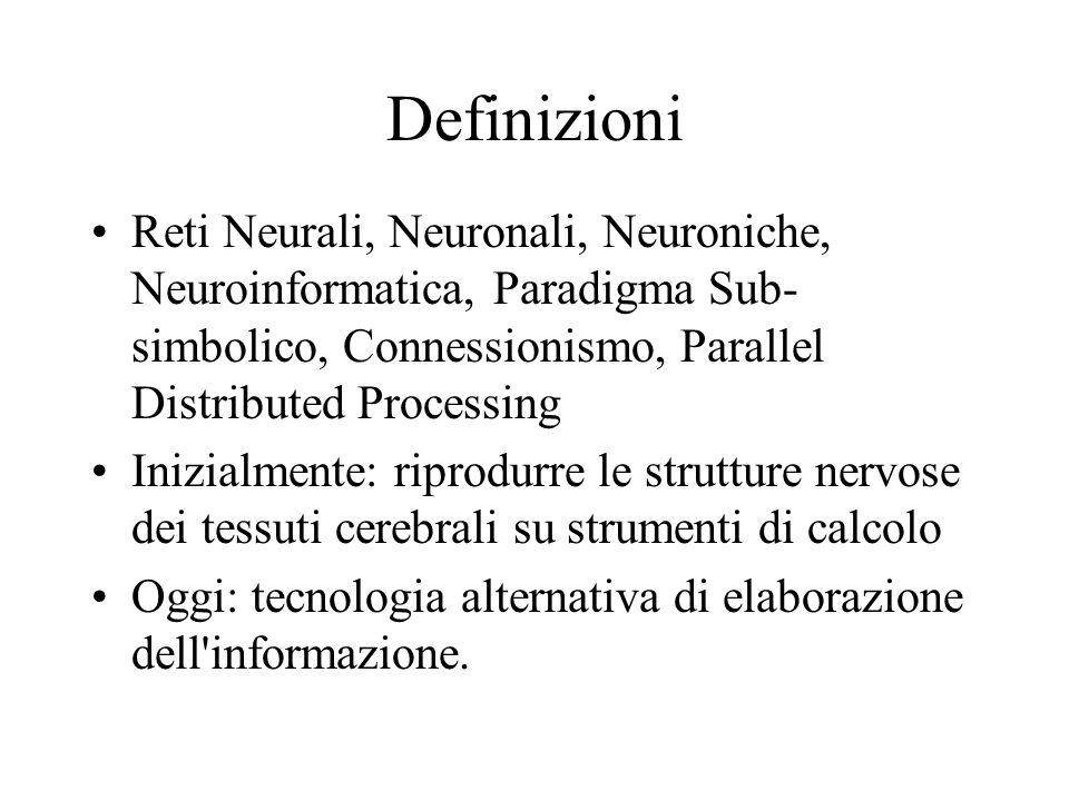 Definizioni Reti Neurali, Neuronali, Neuroniche, Neuroinformatica, Paradigma Sub- simbolico, Connessionismo, Parallel Distributed Processing Inizialme
