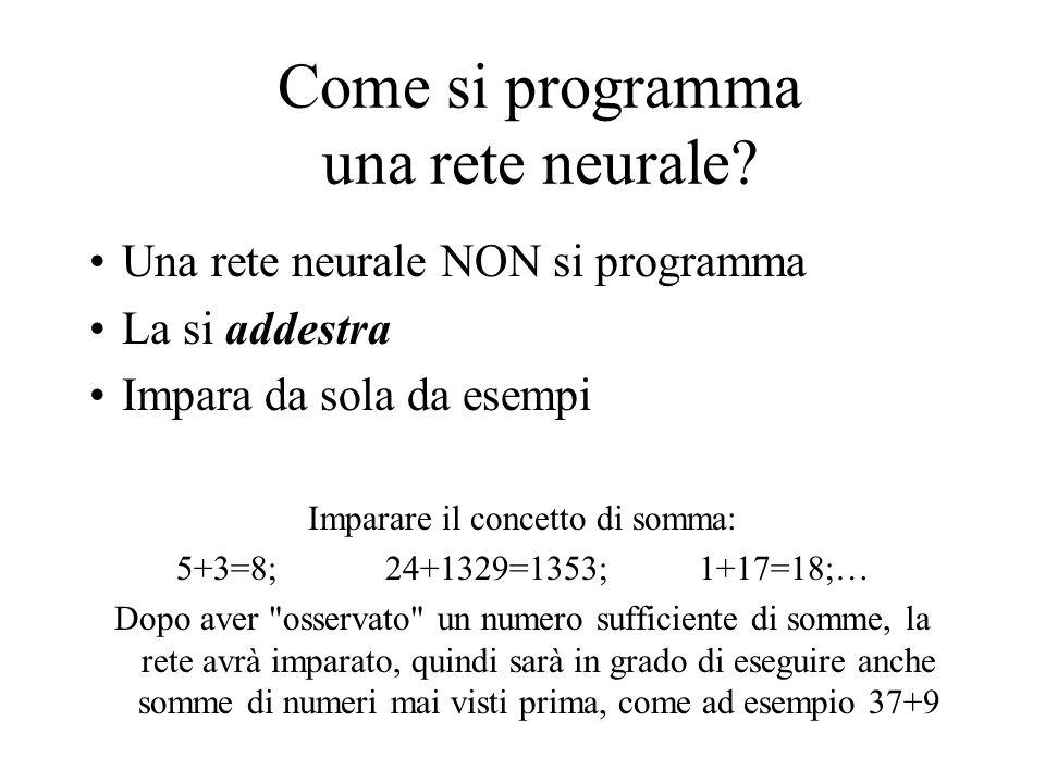 Come si programma una rete neurale? Una rete neurale NON si programma La si addestra Impara da sola da esempi Imparare il concetto di somma: 5+3=8;24+