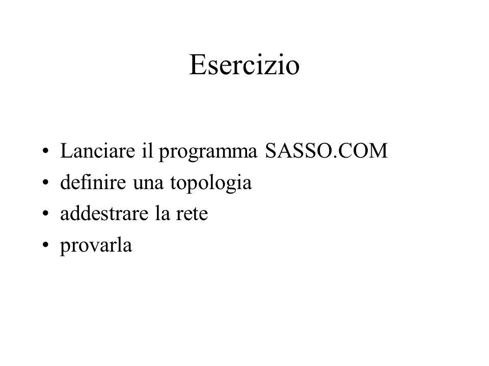 Esercizio Lanciare il programma SASSO.COM definire una topologia addestrare la rete provarla