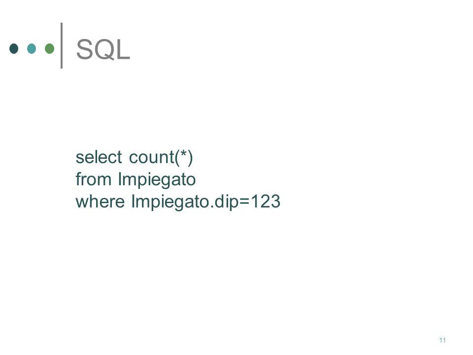 10 SQL Con riferimento allo schema relazionale Impiegato(nome:char, cognome: char, dip:int,stip:int) vogliamo sapere quanti impiegati lavorano nel dipartimento avente codice identificativo uguale a 123