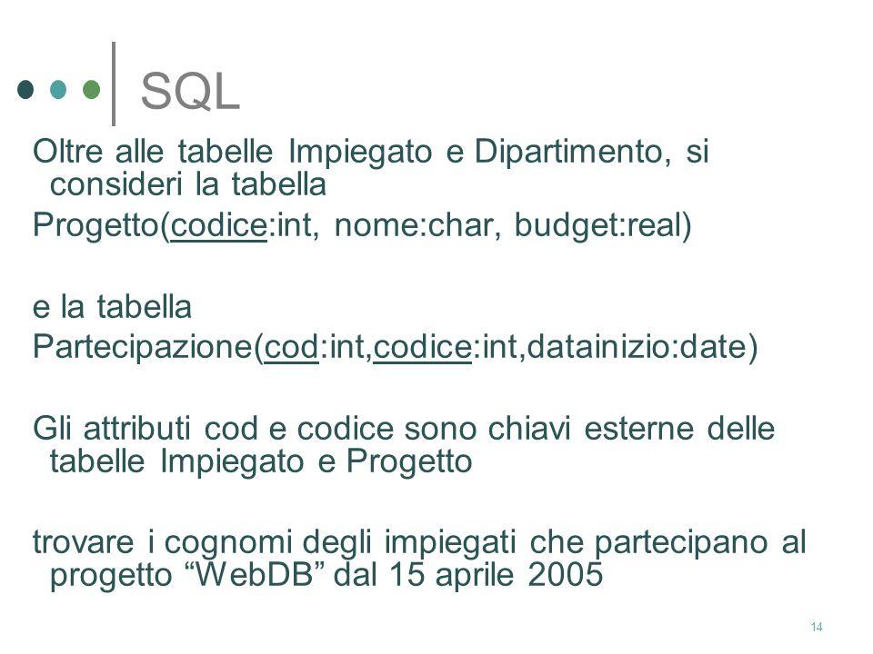 13 SQL Esprimere la seguente interrogazione: trovare
