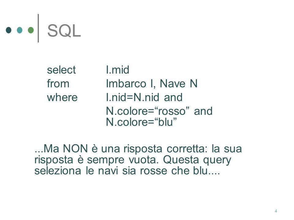 3 SQL Dati i seguenti schemi relazionali: Nave(nid:integer, nnome:char, colore:char) Marinaio(mid:integer, mnome:char, età:integer) Imbarco(nid:integer, mid:integer, data:date) Esprimere in SQL: Trovare gli identificativi dei marinai con imbarchi su navi rosse e su navi blu