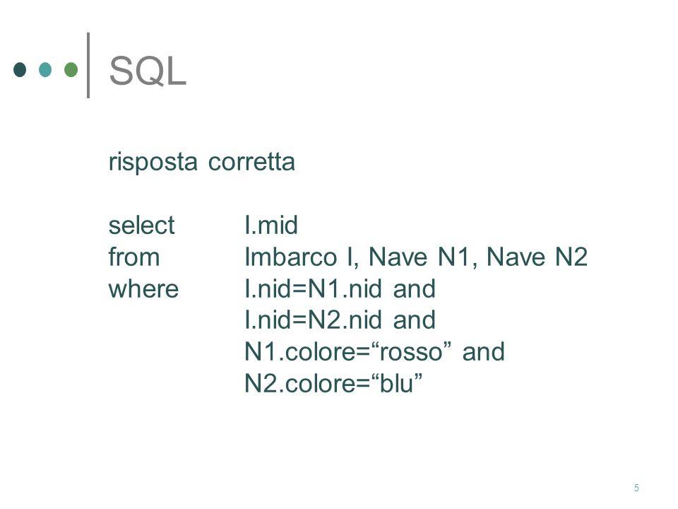 5 SQL risposta corretta select I.mid from Imbarco I, Nave N1, Nave N2 where I.nid=N1.nid and I.nid=N2.nid and N1.colore=rosso and N2.colore=blu