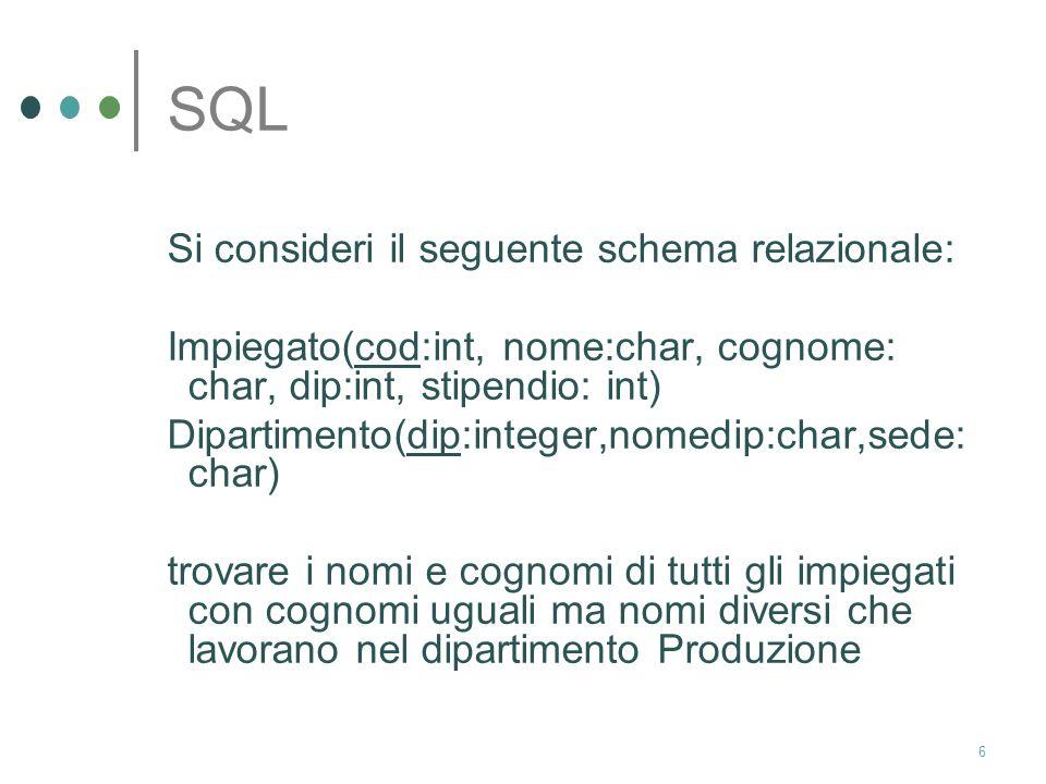 16 SQL trovare i cognomi degli impiegati che partecipano a qualche progetto a partire dal 15 aprile 2005