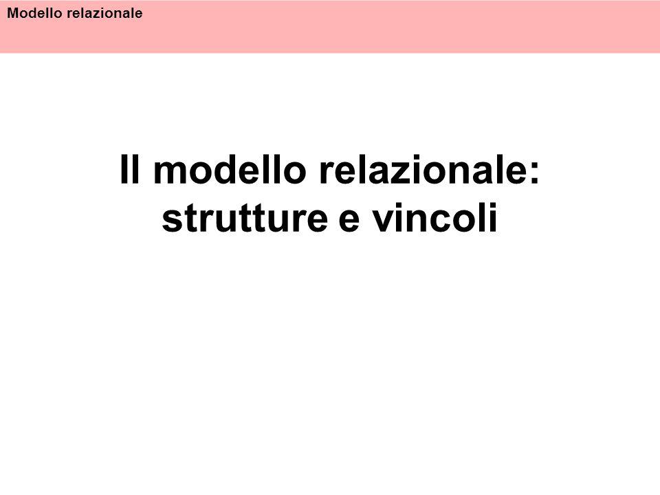 Modello relazionale Il modello relazionale: strutture e vincoli
