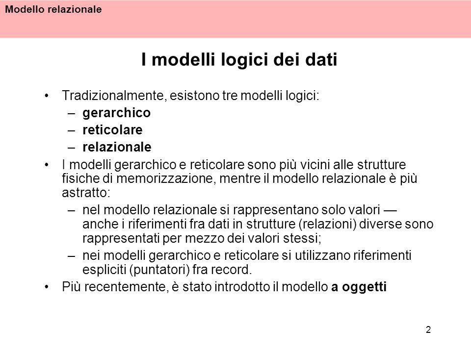 Modello relazionale 13 Il modello relazionale è basato su valori i riferimenti fra dati in relazioni diverse sono rappresentati per mezzo di valori dei domini che compaiono nelle ennuple Nel modello relazionale, non è definito il concetto di puntatore