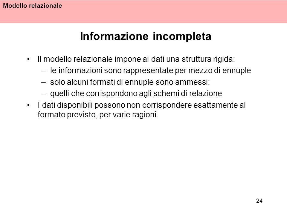 Modello relazionale 24 Informazione incompleta ll modello relazionale impone ai dati una struttura rigida: –le informazioni sono rappresentate per mez