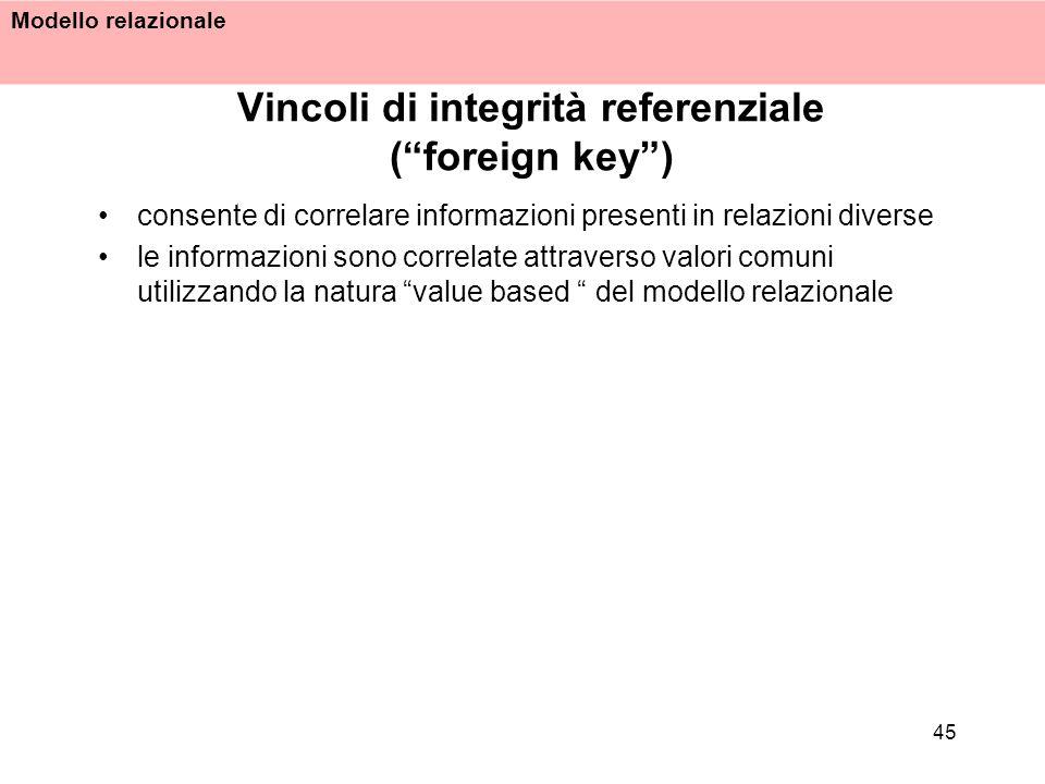 Modello relazionale 45 Vincoli di integrità referenziale (foreign key) consente di correlare informazioni presenti in relazioni diverse le informazion