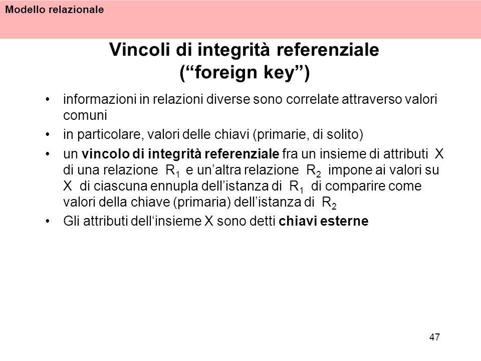 Modello relazionale 47 Vincoli di integrità referenziale (foreign key) informazioni in relazioni diverse sono correlate attraverso valori comuni in pa
