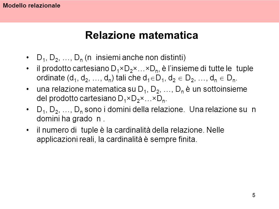 Modello relazionale 5 Relazione matematica D 1, D 2, …, D n (n insiemi anche non distinti) il prodotto cartesiano D 1 ×D 2 ×…×D n, è linsieme di tutte