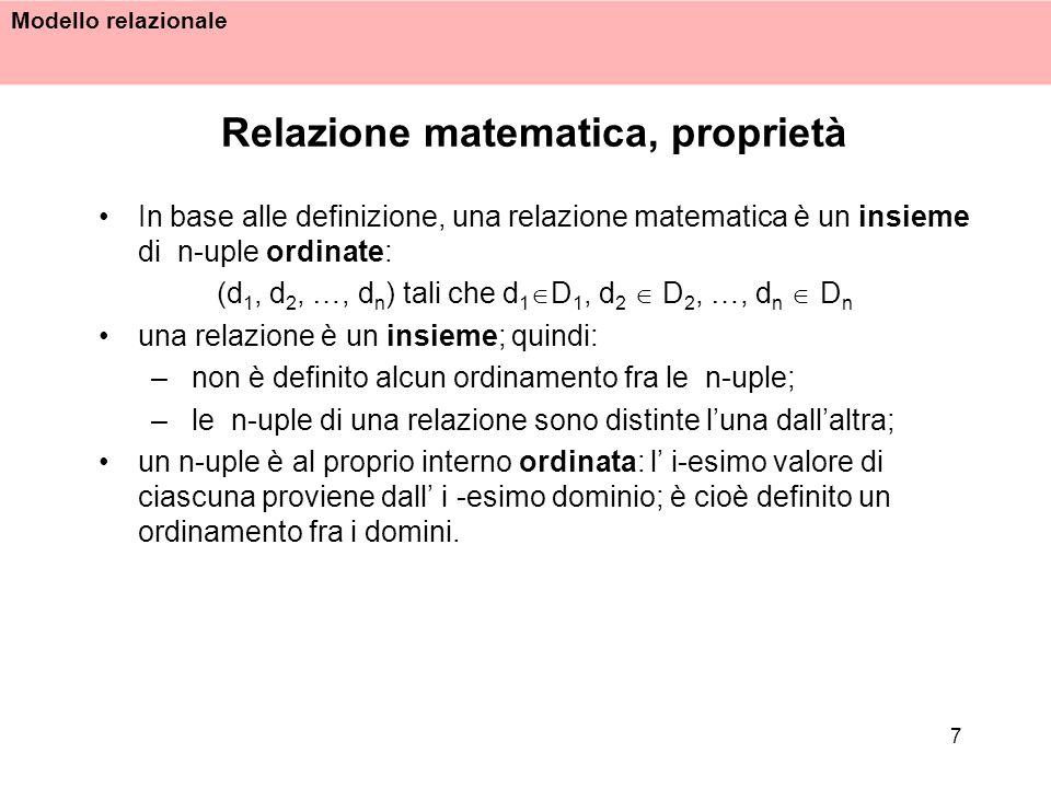 Modello relazionale 7 Relazione matematica, proprietà In base alle definizione, una relazione matematica è un insieme di n-uple ordinate: (d 1, d 2, …