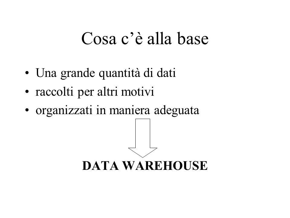 Cosa cè alla base Una grande quantità di dati raccolti per altri motivi organizzati in maniera adeguata DATA WAREHOUSE