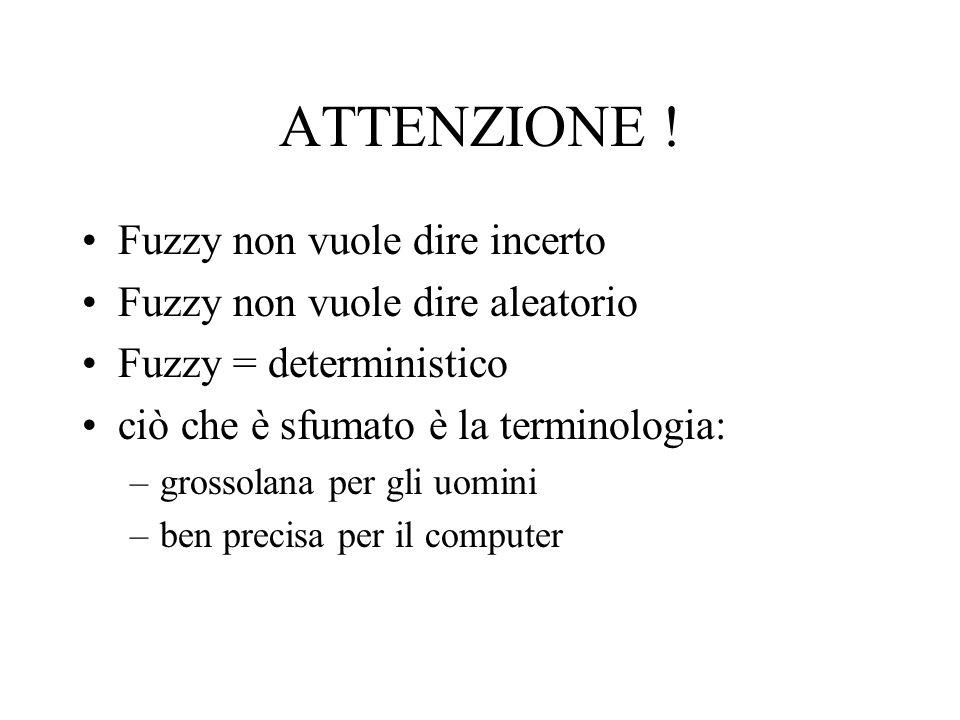 ATTENZIONE ! Fuzzy non vuole dire incerto Fuzzy non vuole dire aleatorio Fuzzy = deterministico ciò che è sfumato è la terminologia: –grossolana per g