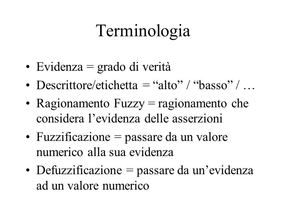 Terminologia Evidenza = grado di verità Descrittore/etichetta = alto / basso / … Ragionamento Fuzzy = ragionamento che considera levidenza delle asser