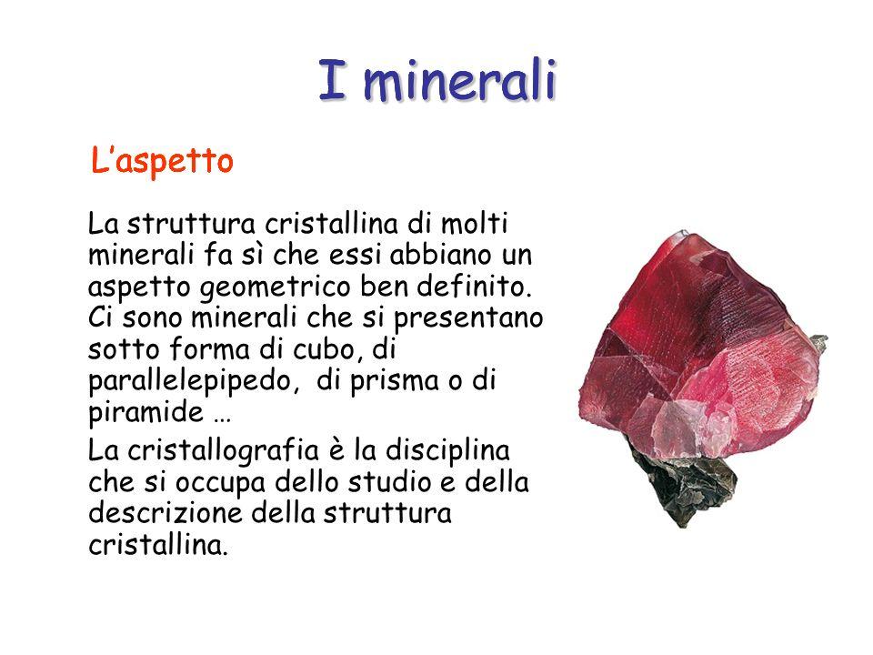 I minerali La struttura cristallina di molti minerali fa sì che essi abbiano un aspetto geometrico ben definito. Ci sono minerali che si presentano so