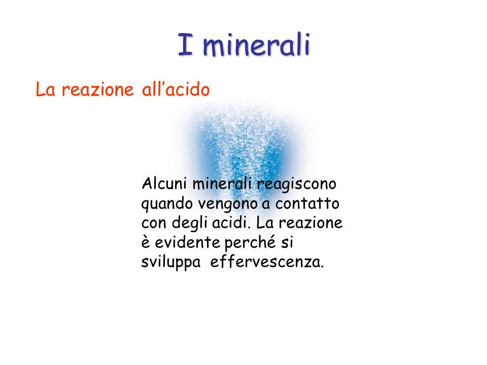 I minerali La reazione allacido Alcuni minerali reagiscono quando vengono a contatto con degli acidi. La reazione è evidente perché si sviluppa efferv