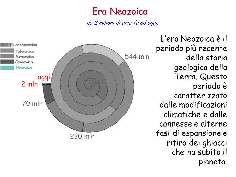 Lera Neozoica è il periodo più recente della storia geologica della Terra. Questo periodo è caratterizzato dalle modificazioni climatiche e dalle conn