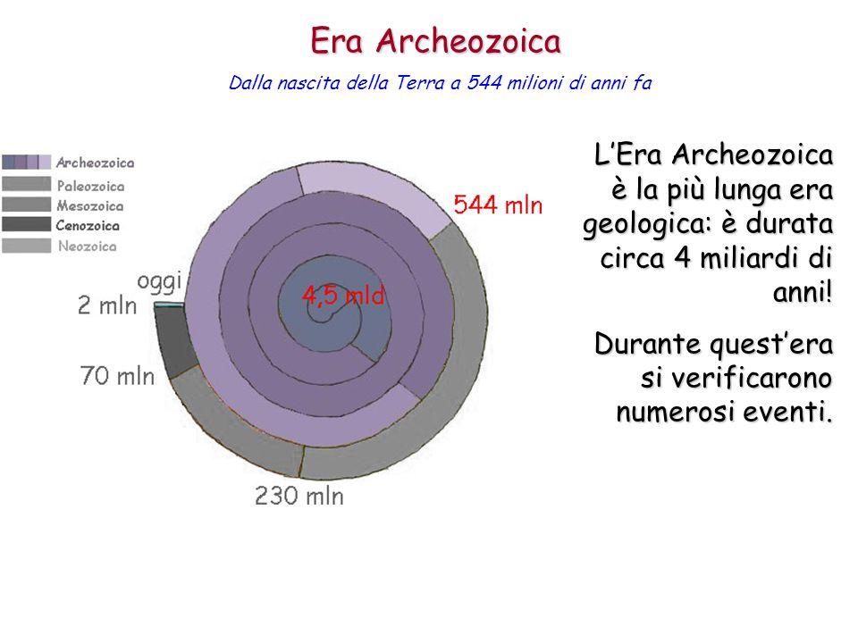 LEra Archeozoica è la più lunga era geologica: è durata circa 4 miliardi di anni! Durante questera si verificarono numerosi eventi. Era Archeozoica Da