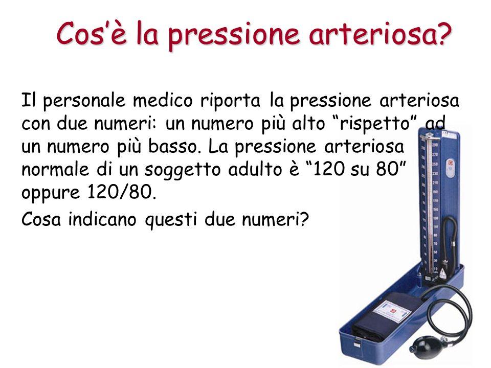 Il personale medico riporta la pressione arteriosa con due numeri: un numero più alto rispetto ad un numero più basso.