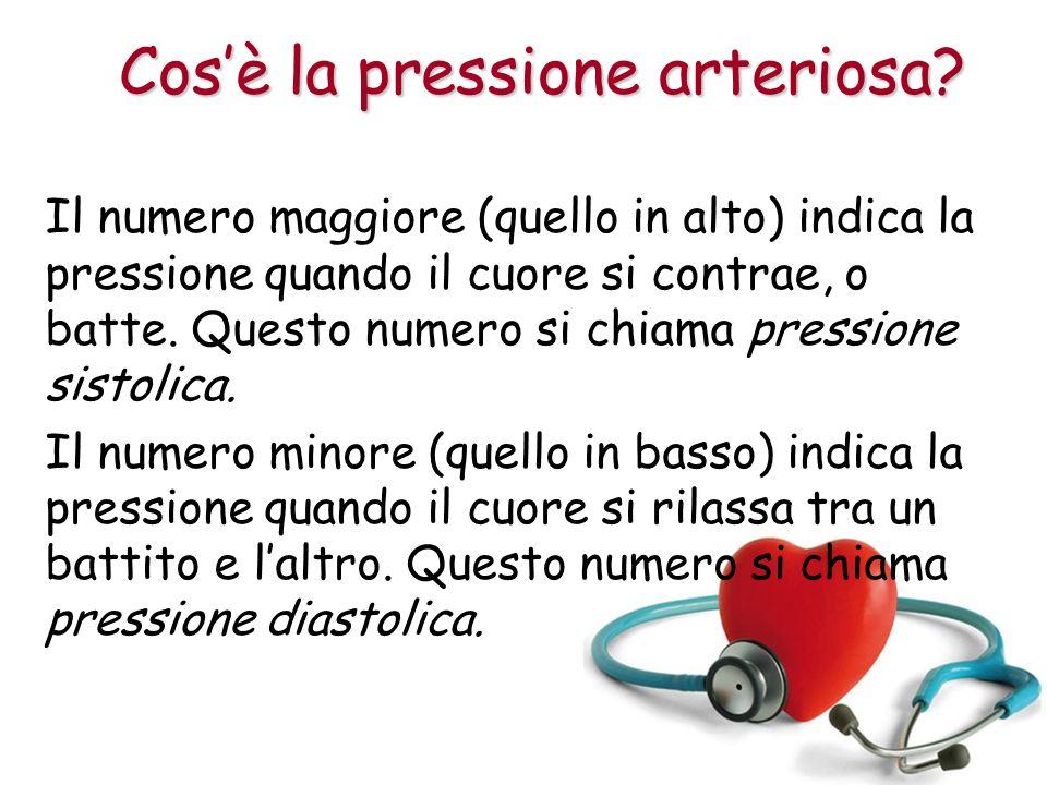 Il numero maggiore (quello in alto) indica la pressione quando il cuore si contrae, o batte.